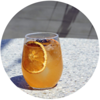 Resting Spritz Face - Ramazzotti aperitivo, orange sherbert reduction, bubbles